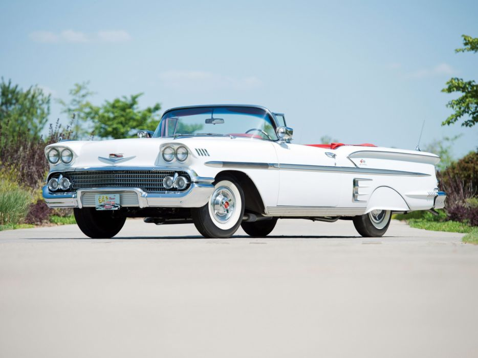 1958 Chevrolet Bel Air Impala 348 Super Turbo Thrust Tri-Power Convertible cars classic wallpaper