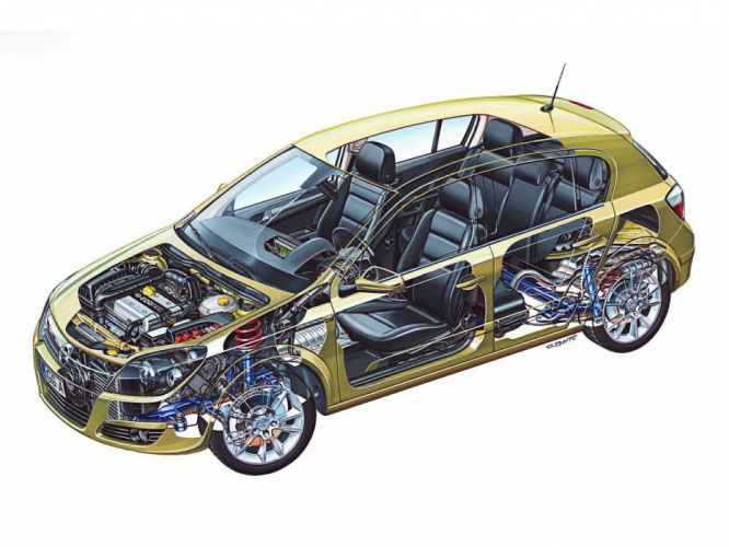 Opel Astra Hatchback cars cutaway 2004 wallpaper