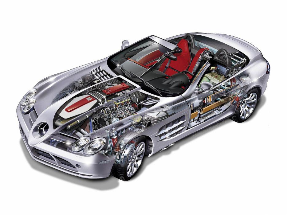 Mercedes Benz SLR McLaren Roadster cars cutaway wallpaper
