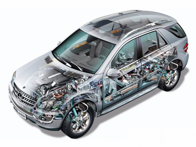 Mercedes Benz ML 500 2005 cars cutaway wallpaper
