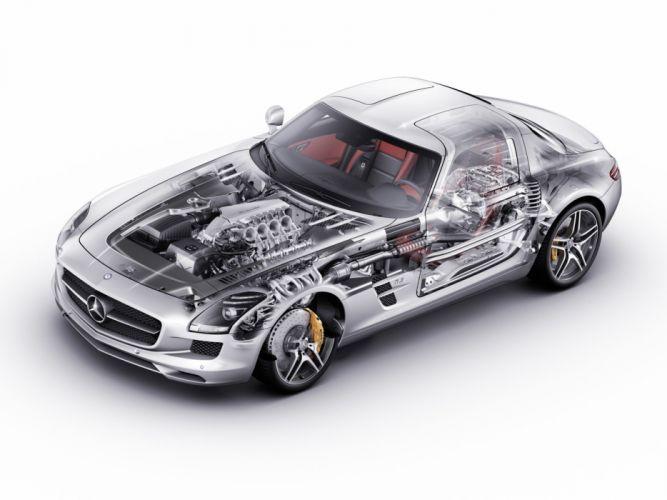 Mercedes Benz SLS 63 AMG 2010 cars cutaway wallpaper