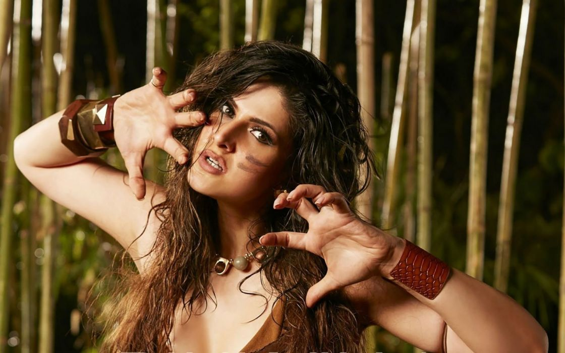 zareen khan bollywood actress model girl beautiful brunette pretty cute beauty sexy hot pose face eyes hair lips smile figure indian  wallpaper