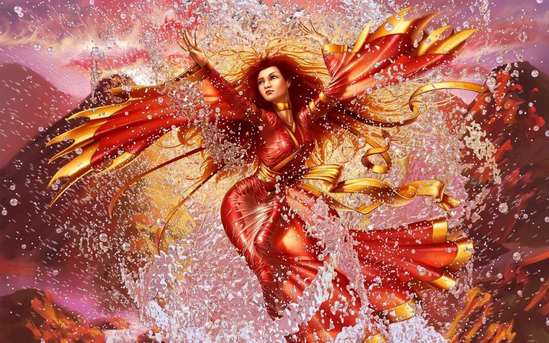 fantasy girl steve argyle mountains water art spray wallpaper
