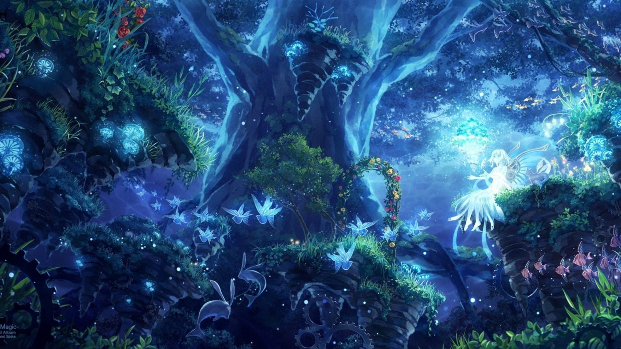 forest art fairy nature wings minami seira girl trees wallpaper