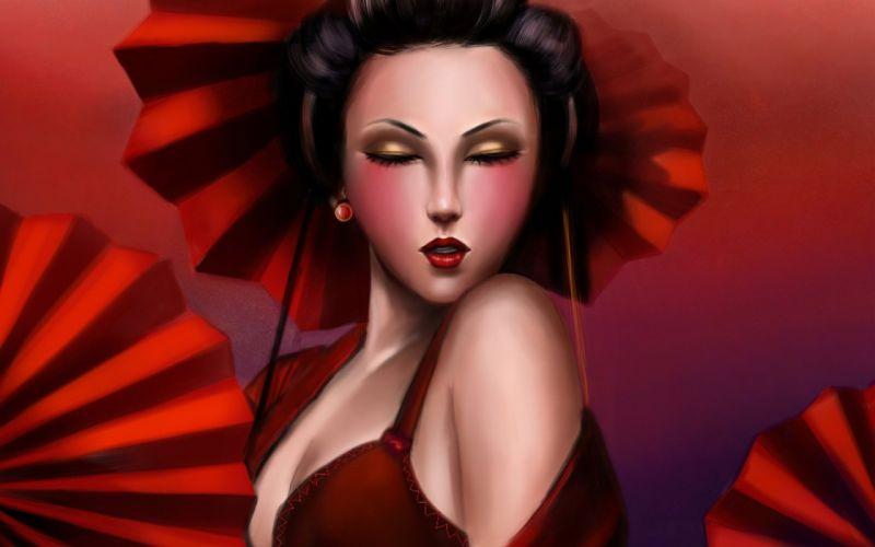 geisha red girl person lily you umbrellas art wallpaper
