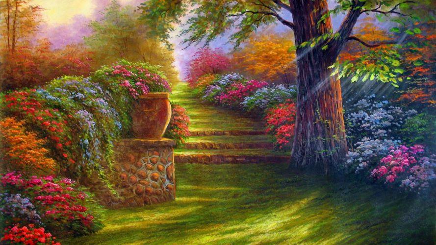 flowers garden painting wallpaper
