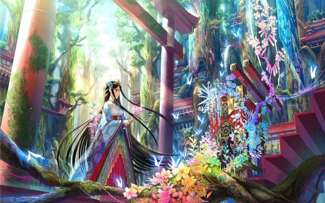 fuji choko gate girl art stairs flowers wallpaper