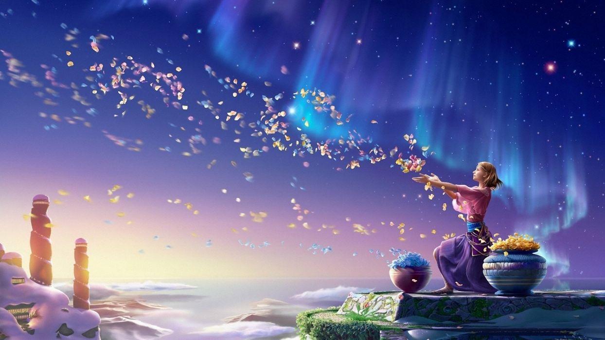girl northern lights art Kagaya flowers petals wallpaper