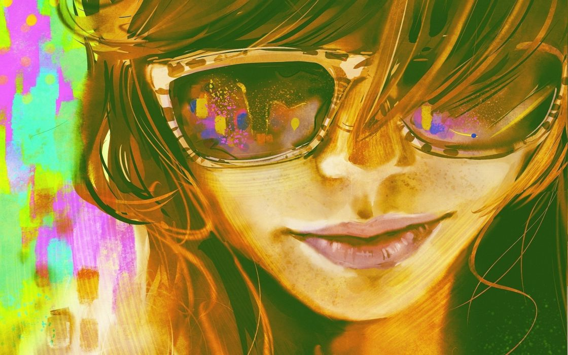girl bright face art spectacles drawing wallpaper