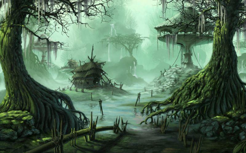 homes buildings swamp trees water art wallpaper