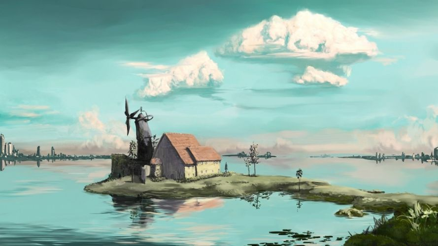 house lake buildings windmill landscape art trees wallpaper