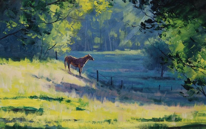 hartsaus horse trees landscape fence art green horse wallpaper