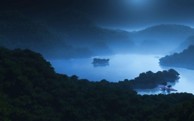 hills fog sea lake forest island night art wallpaper