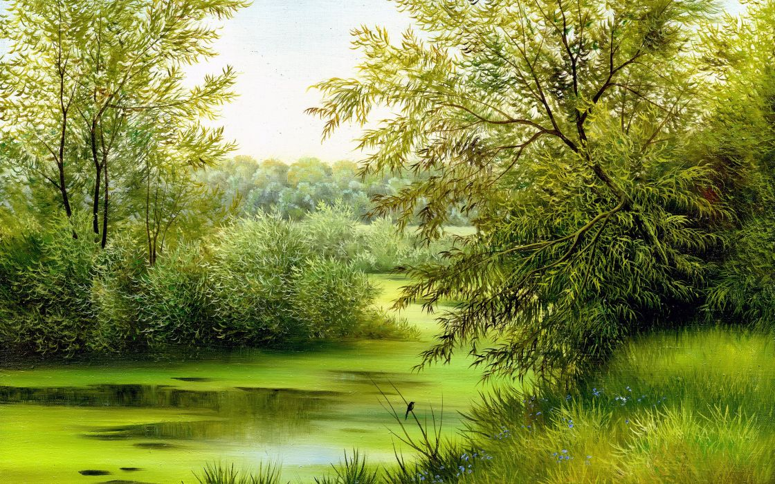 grass landscape canvas painting nature green wallpaper