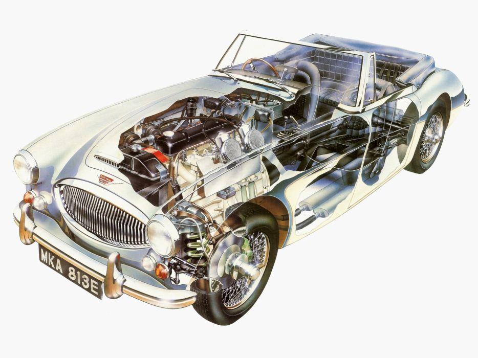 Austin Healey 3000 (MkIII) cars cutaway 1963 wallpaper