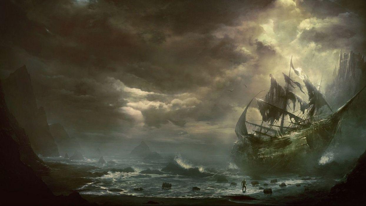pirate fantasy sea sky wallpaper
