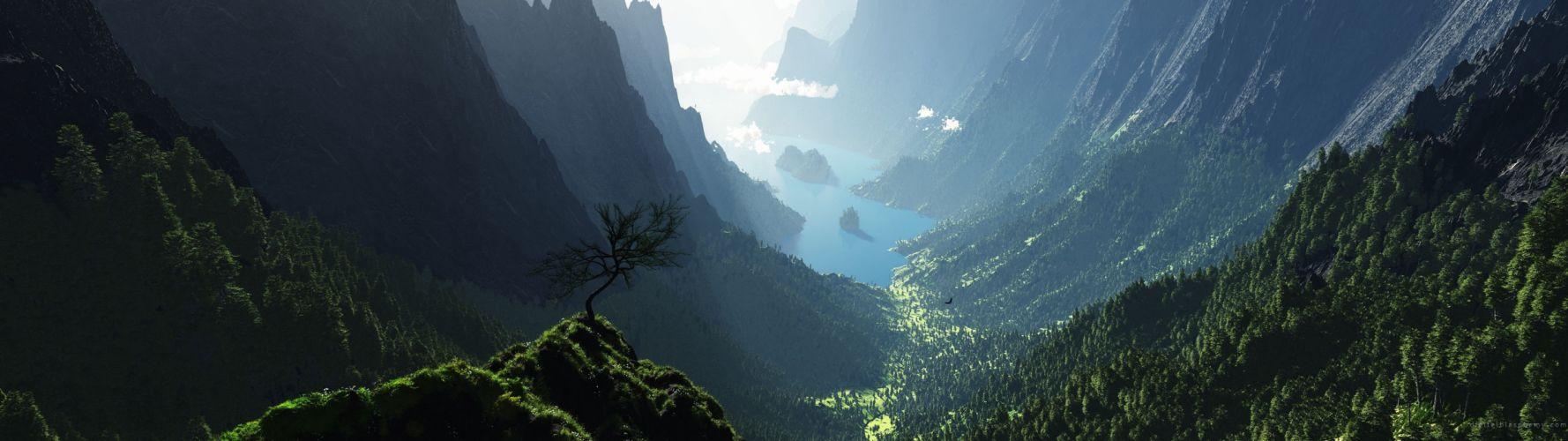 dual monitors mountain lake beauty wallpaper