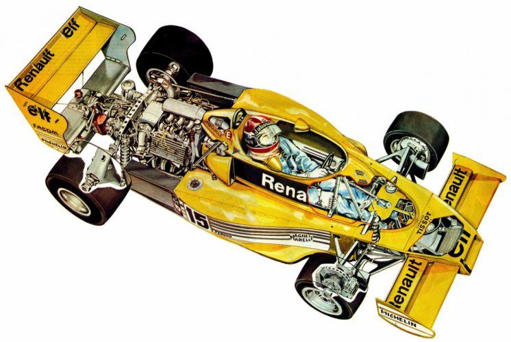 Renault RS01 race cars cutaway 1977 wallpaper