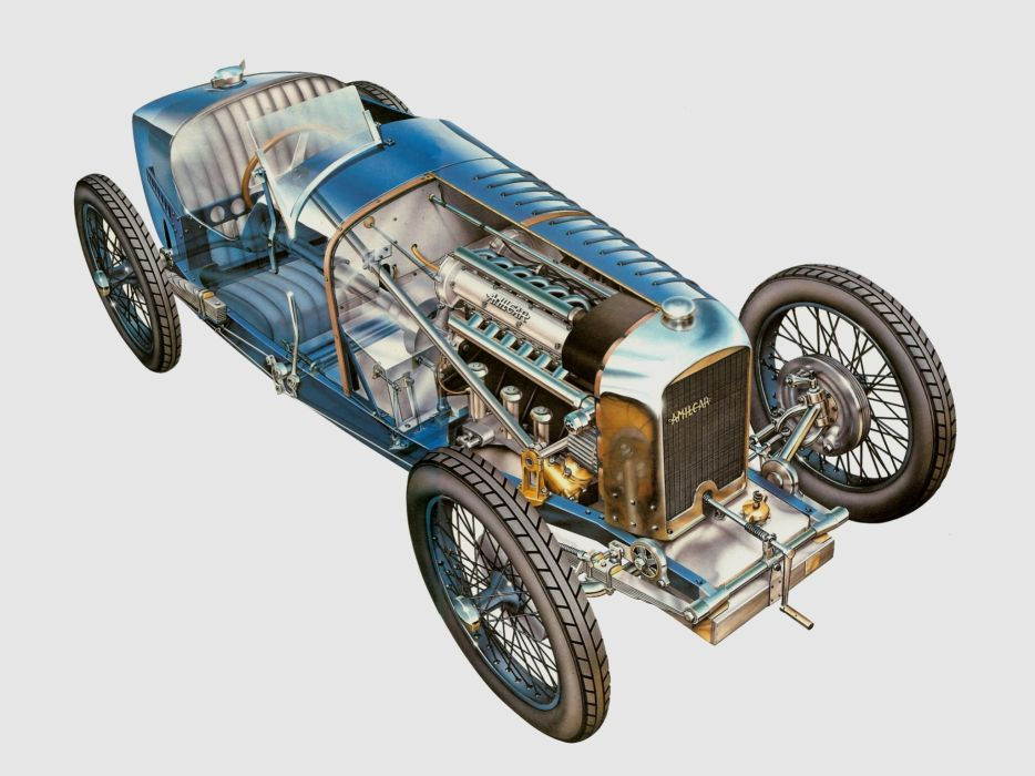Amilcar C6 race cars cutaway 1926 wallpaper
