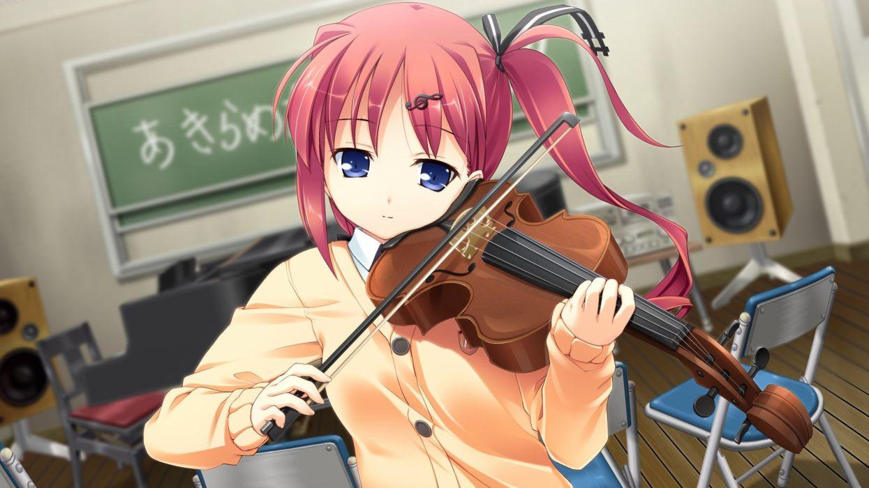 anime pink hair girl violin treble key lesson wallpaper