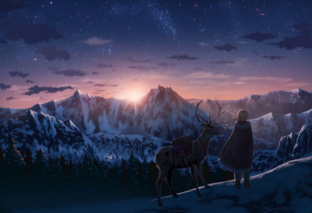 anime series nauimusuka art deer mountains stars wallpaper