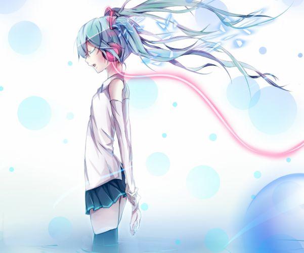 anime vocaloid hatsune miku headphones wire water wallpaper