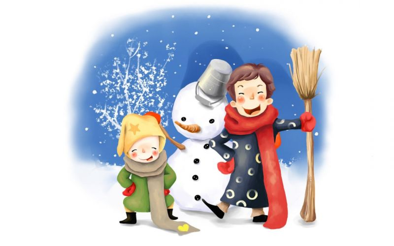 drawing kids fun snowman winter bucket broom buttons scarves wallpaper