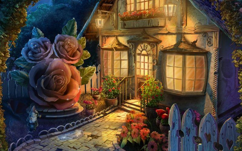 house painting fantasy rose wallpaper