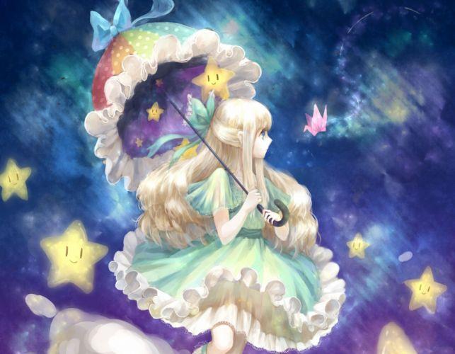 girl anime art umbrella wallpaper