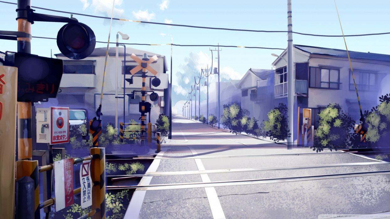 japan streets railroad crossing anime  wallpaper