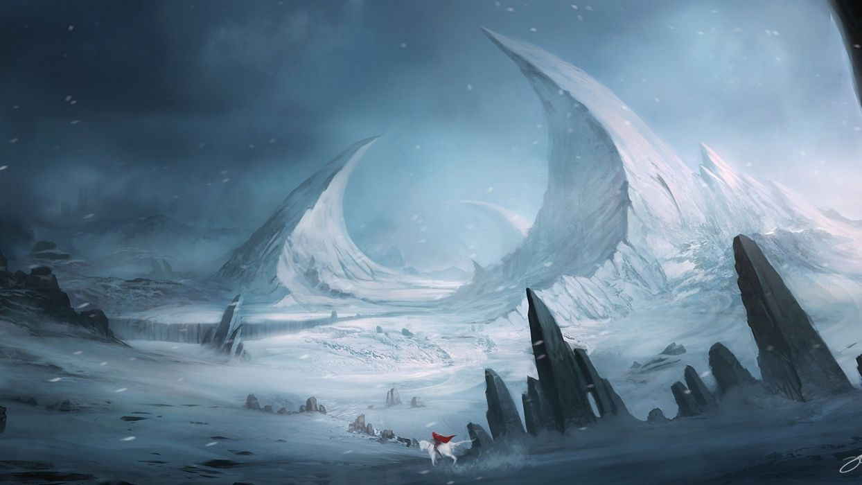 landscape fantasy rocks blink horse art mountains rocks snow wallpaper