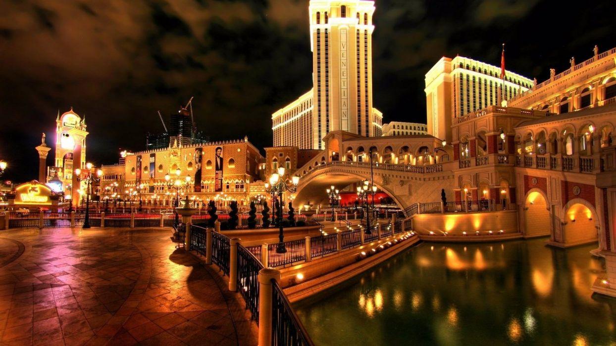 Las Vegas bridge beautiful city bright hotel Venice wallpaper