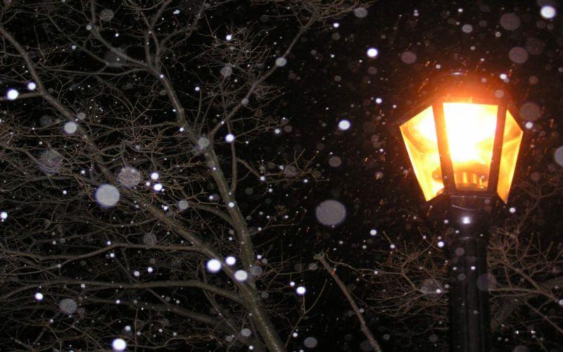 lamp post light at night snow winter wallpaper