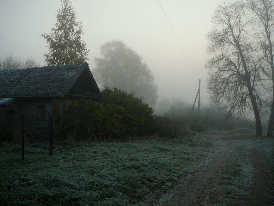 landscape nature fog house tree wallpaper