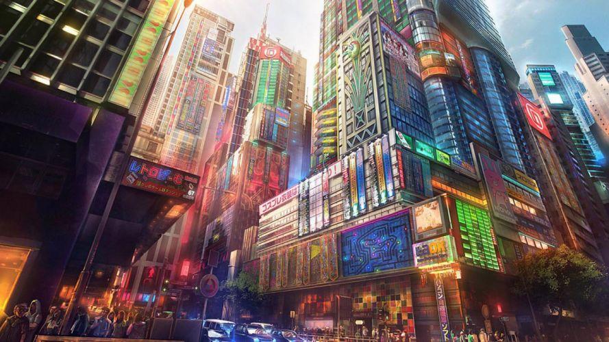 city fantasy color wallpaper