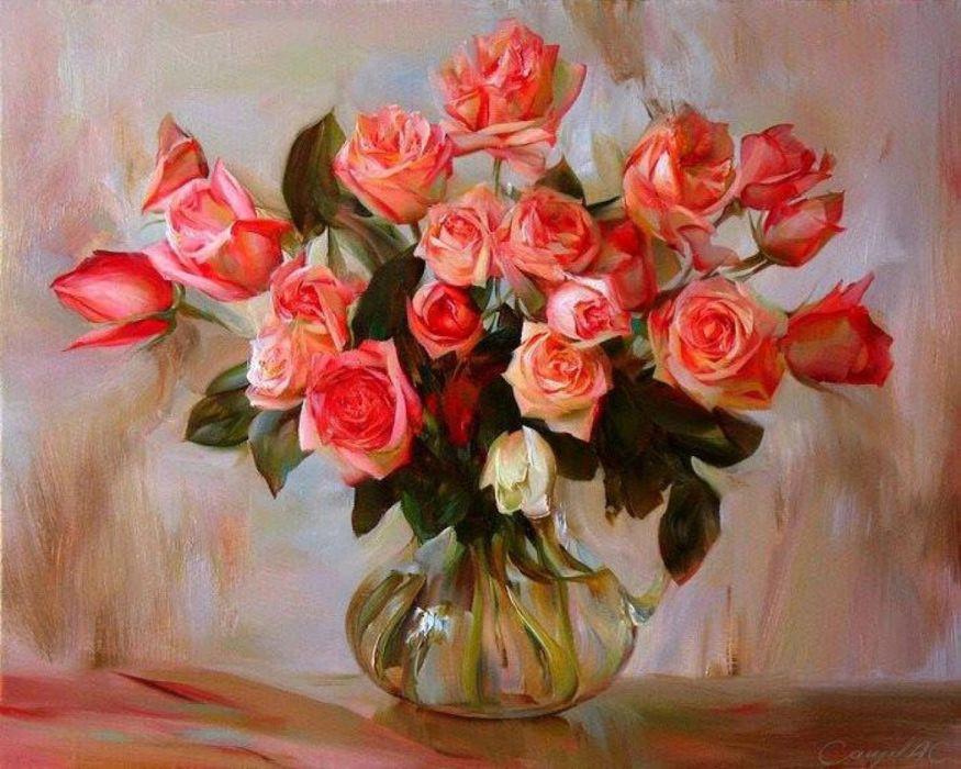 gorgeous roses vase art painting  wallpaper