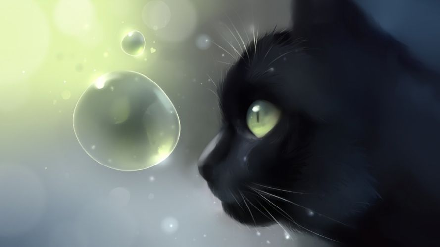 black profile cat bubbles apofiss art cat head wallpaper