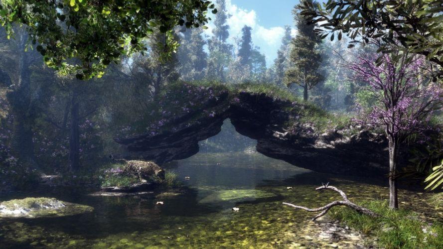 klontak art stones rocks nature trees river lake wallpaper
