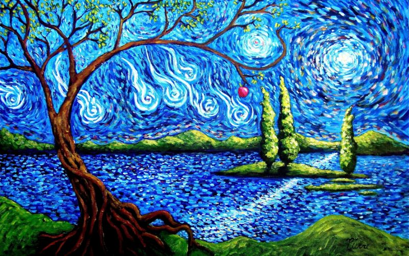 art lake island sky abstract tree apple wallpaper
