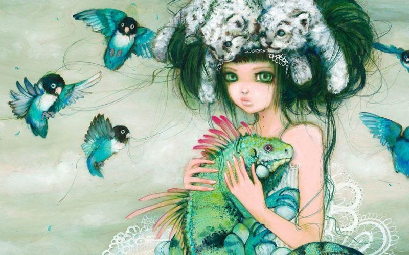 lovebirds camilla d'errico birds art girl hairstyle wallpaper