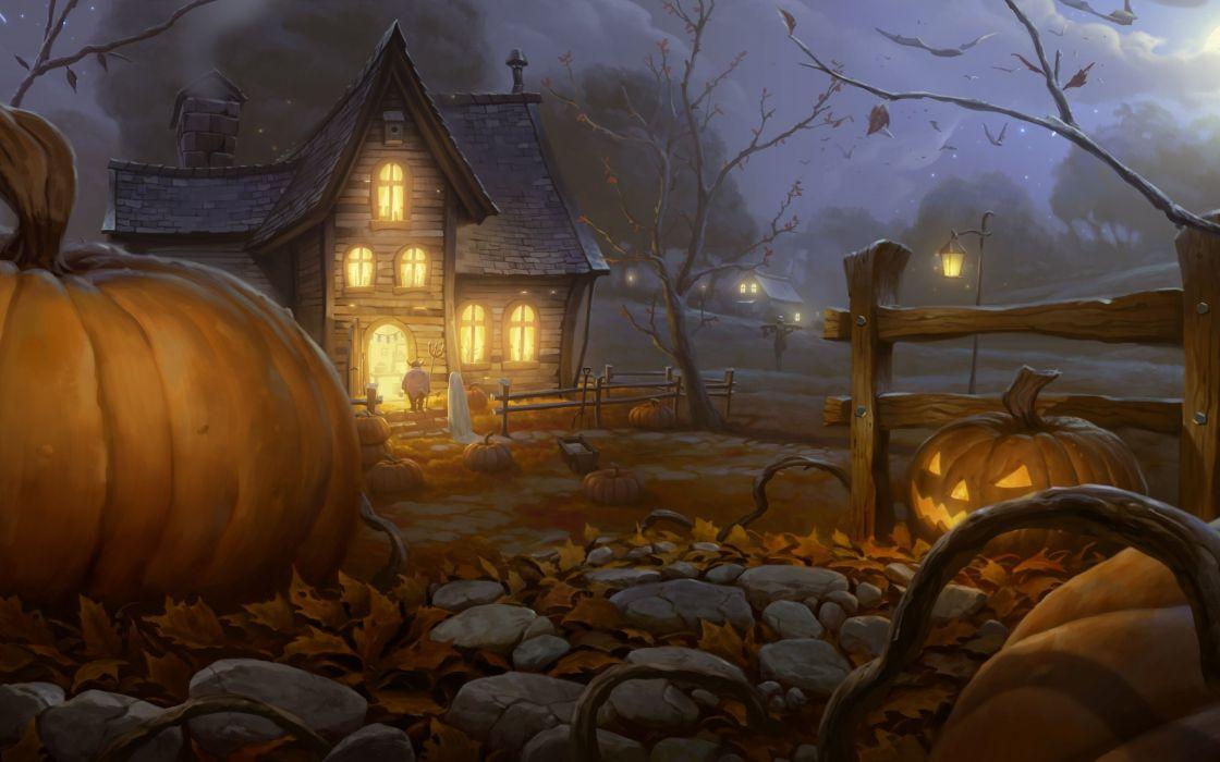 house halloween pumpkin garden art visitor night halloween wallpaper