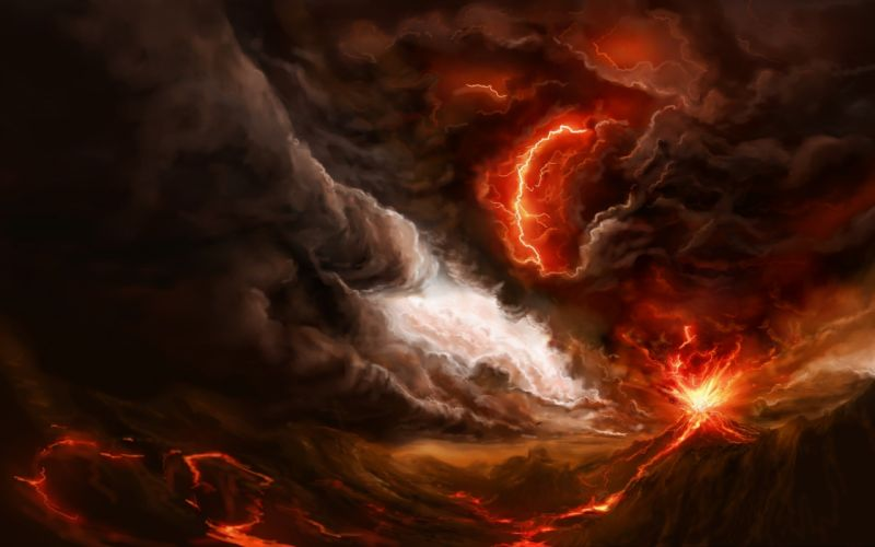 lightning fire eruption art smoke lava mountain volcano wallpaper