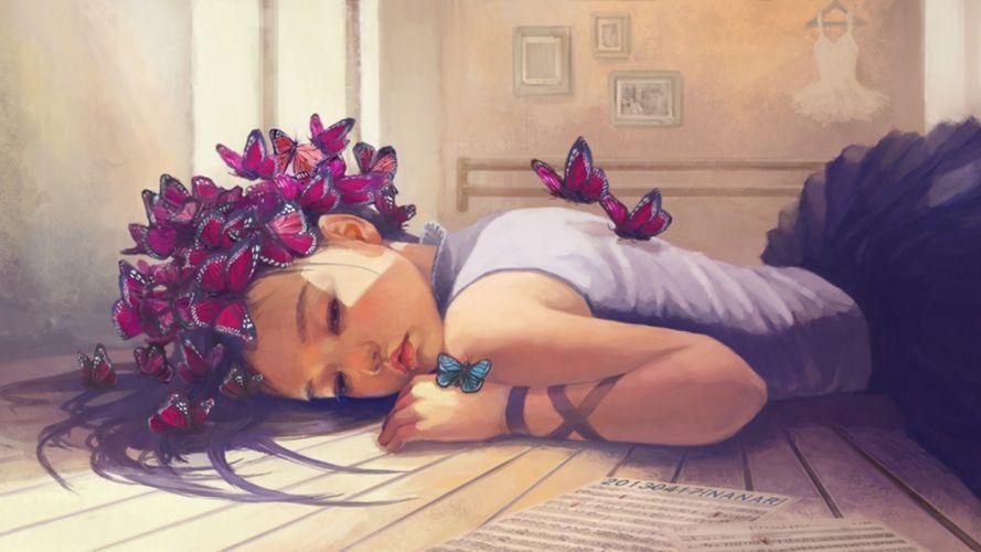 lies dress hanger woman butterflies art osame wallpaper