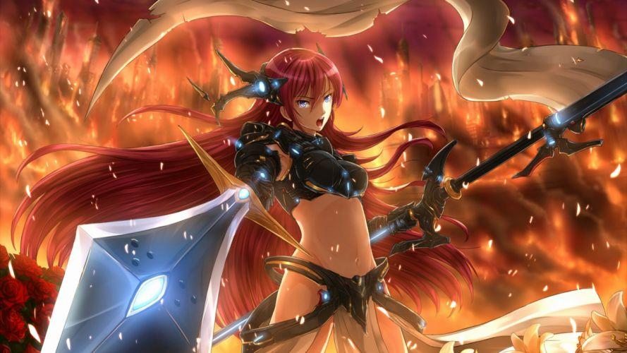 luka megurine warrior girl anime sword wallpaper