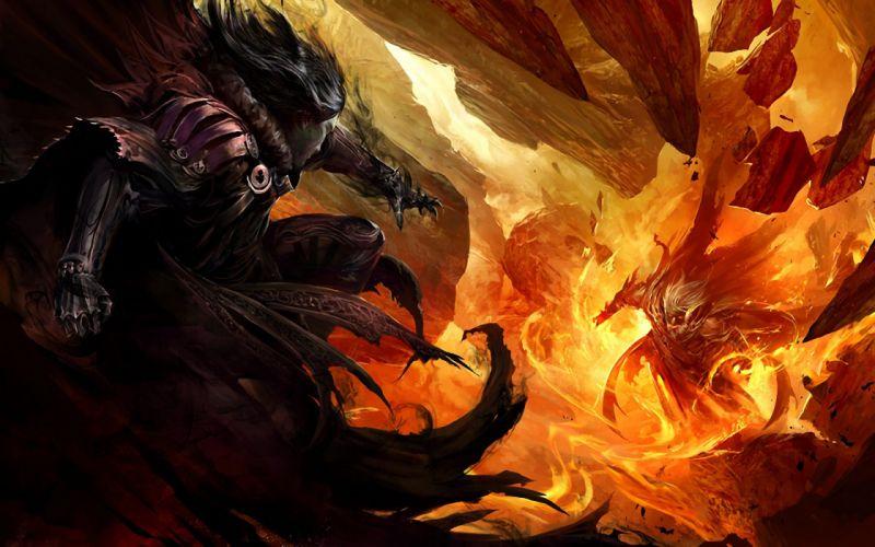 magician rock warrior fight jump fire wallpaper