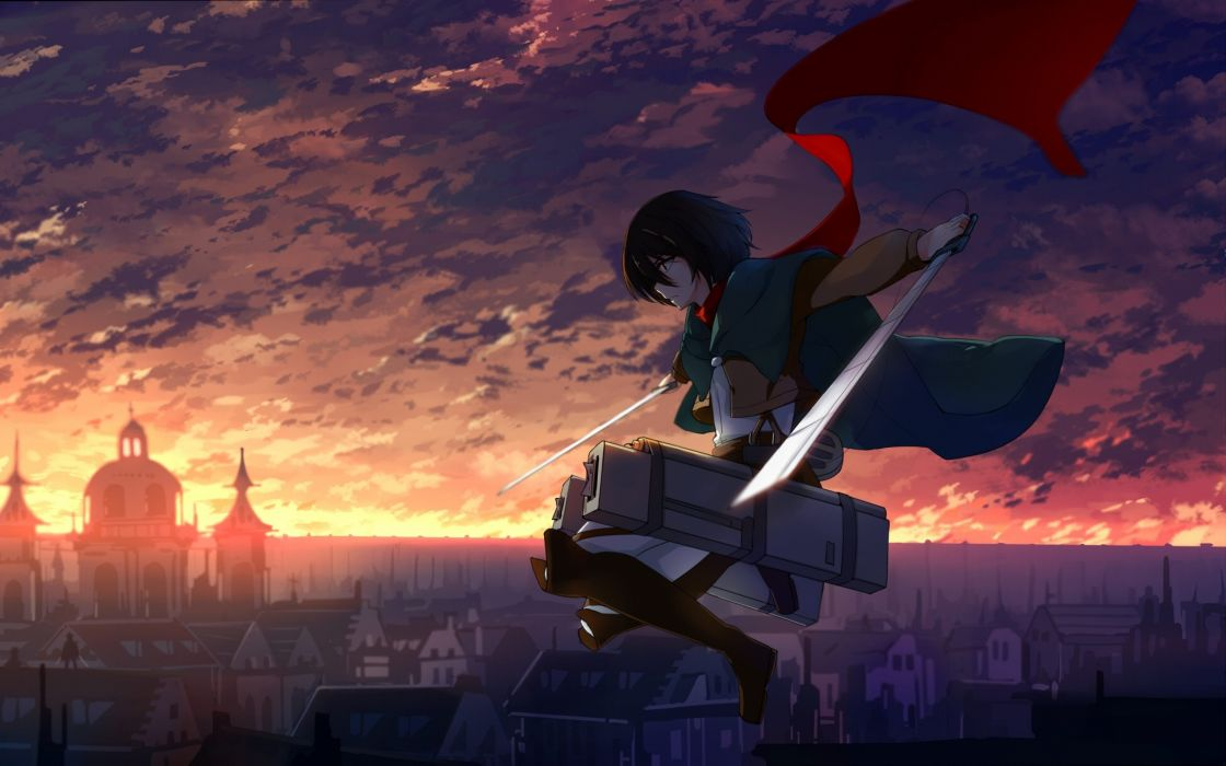 mikasa ackerman anime girl sword  wallpaper