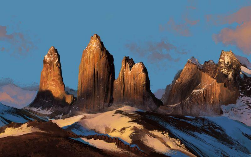 nature snow landscape mountains art mohammad javadi rock wallpaper