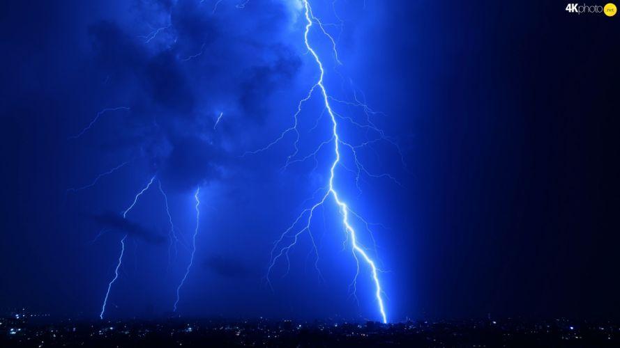 Night thunderbolt Storm wallpaper