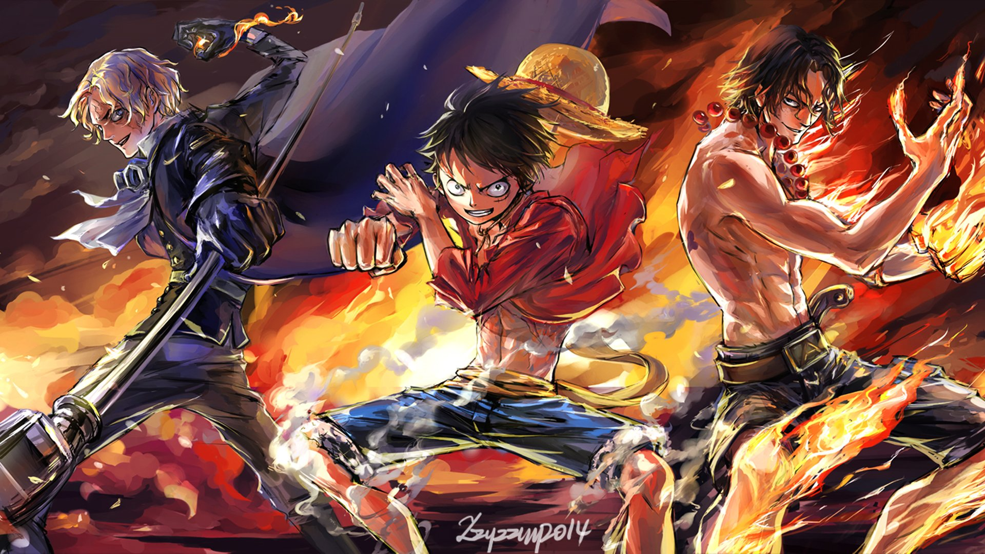 One Piece Luffy Ace Sabo Wallpaper
