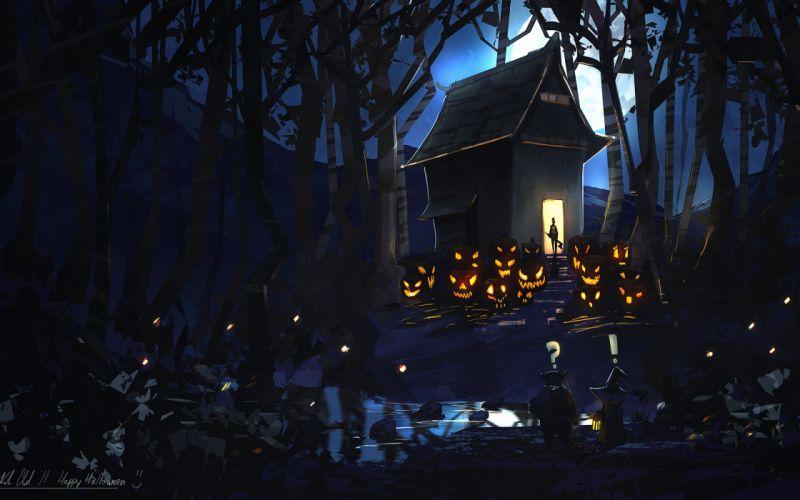 night forest pumpkin house happy halloween evil art moon wallpaper